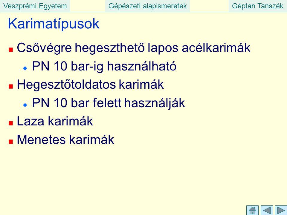 Veszprémi EgyetemGépészeti alapismeretekGéptan Tanszék Karimatípusok Csővégre hegeszthető lapos acélkarimák PN 10 bar-ig használható Hegesztőtoldatos