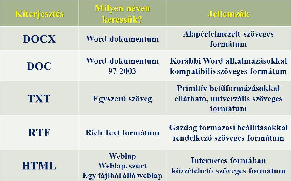 Kiterjesztés Milyen néven keressük? Jellemzők DOCX Word-dokumentum Alapértelmezett szöveges formátum DOC Word-dokumentum 97-2003 Korábbi Word alkalmaz
