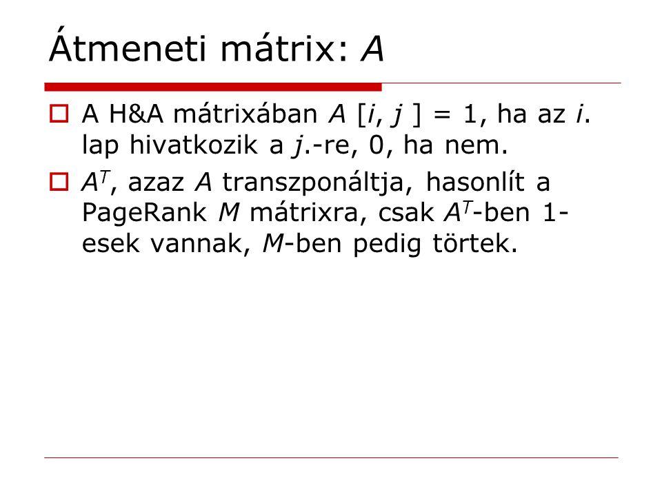 Átmeneti mátrix: A  A H&A mátrixában A [i, j ] = 1, ha az i. lap hivatkozik a j.-re, 0, ha nem.  A T, azaz A transzponáltja, hasonlít a PageRank M m