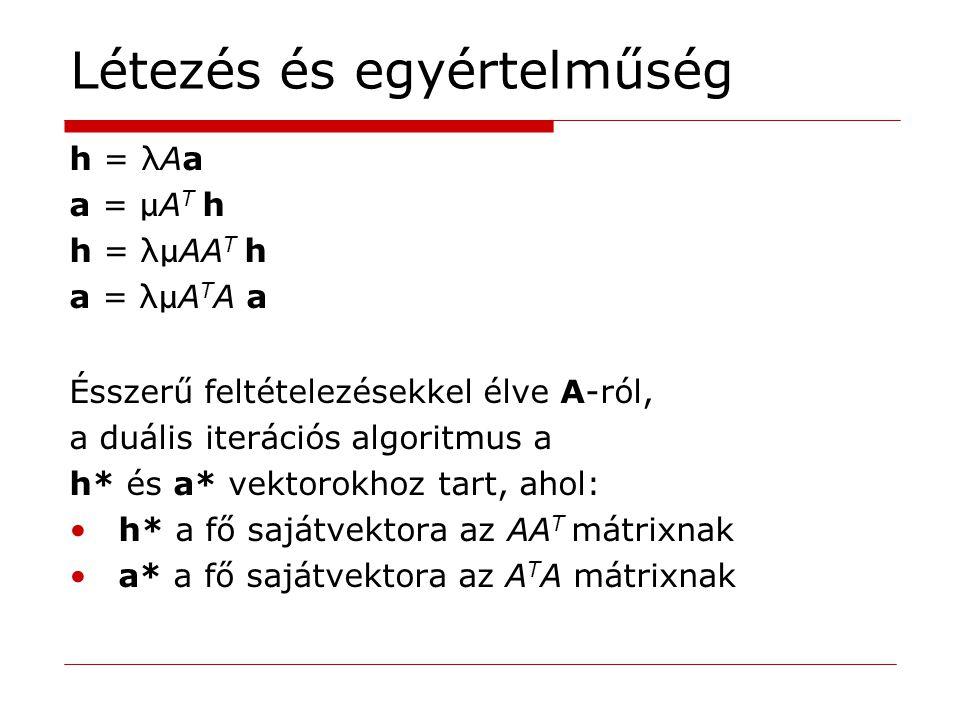 Létezés és egyértelműség h = λ Aa a = μ A T h h = λμ AA T h a = λμ A T A a Ésszerű feltételezésekkel élve A-ról, a duális iterációs algoritmus a h* és