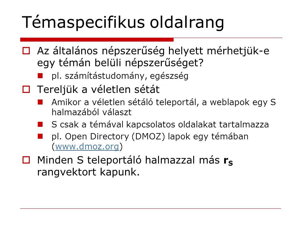 Másik megközelítés  Visszaáramlás az ismert szemétoldalakról  Még nyitott kutatási terület…