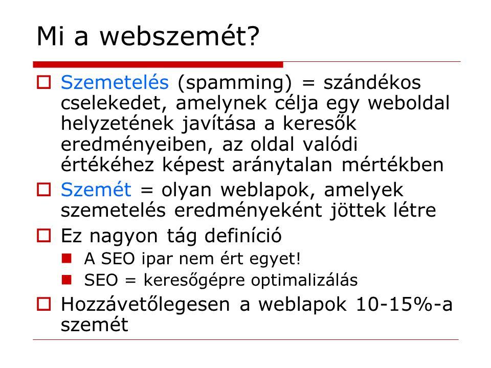 Mi a webszemét?  Szemetelés (spamming) = szándékos cselekedet, amelynek célja egy weboldal helyzetének javítása a keresők eredményeiben, az oldal val