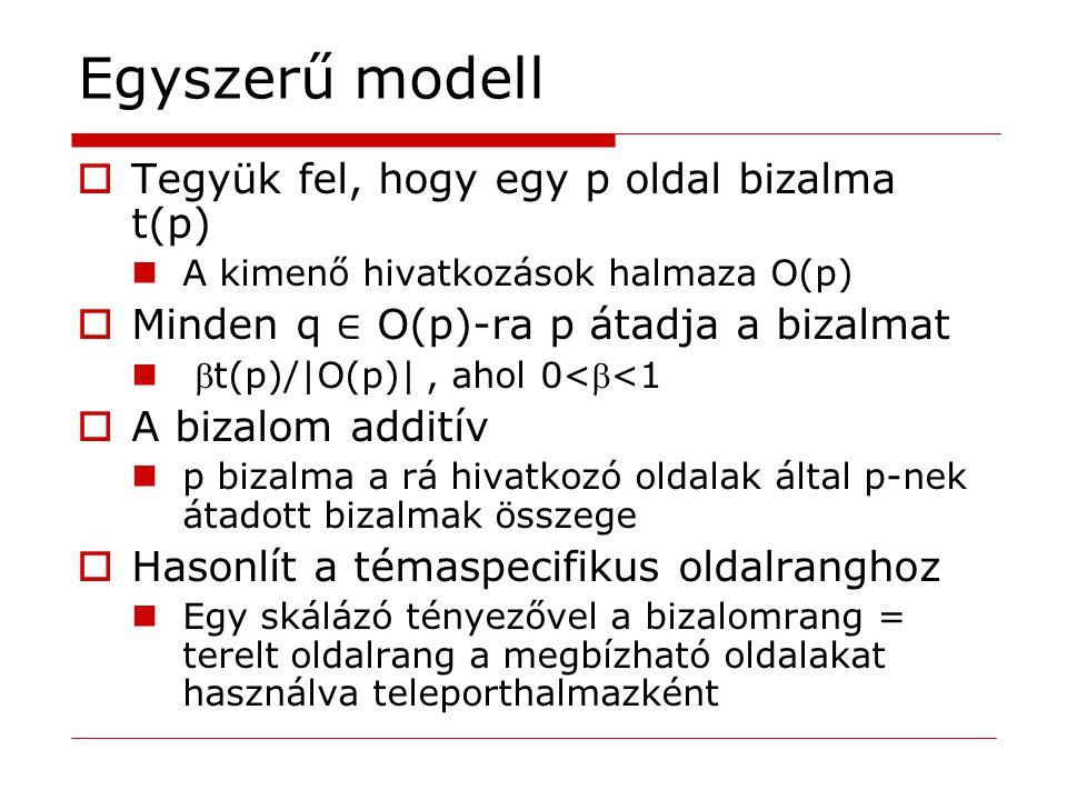 Egyszerű modell  Tegyük fel, hogy egy p oldal bizalma t(p) A kimenő hivatkozások halmaza O(p)  Minden q ∈ O(p)-ra p átadja a bizalmat t(p)/|O(p)|,