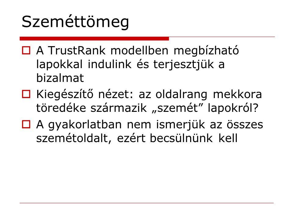 Szeméttömeg  A TrustRank modellben megbízható lapokkal indulink és terjesztjük a bizalmat  Kiegészítő nézet: az oldalrang mekkora töredéke származik