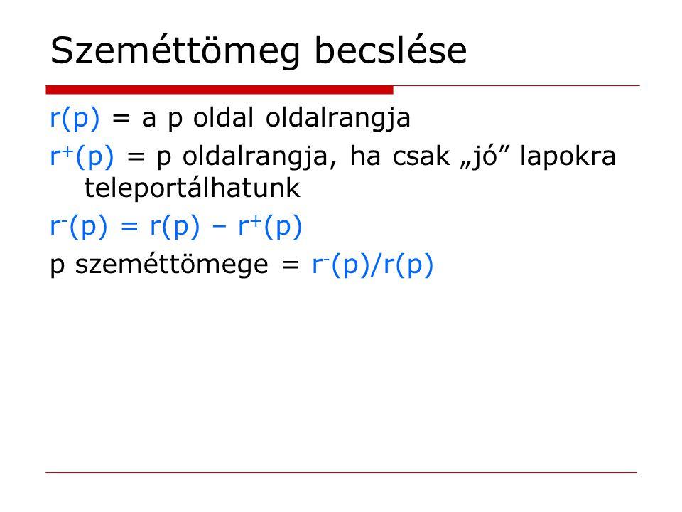 """Szeméttömeg becslése r(p) = a p oldal oldalrangja r + (p) = p oldalrangja, ha csak """"jó"""" lapokra teleportálhatunk r - (p) = r(p) – r + (p) p szeméttöme"""