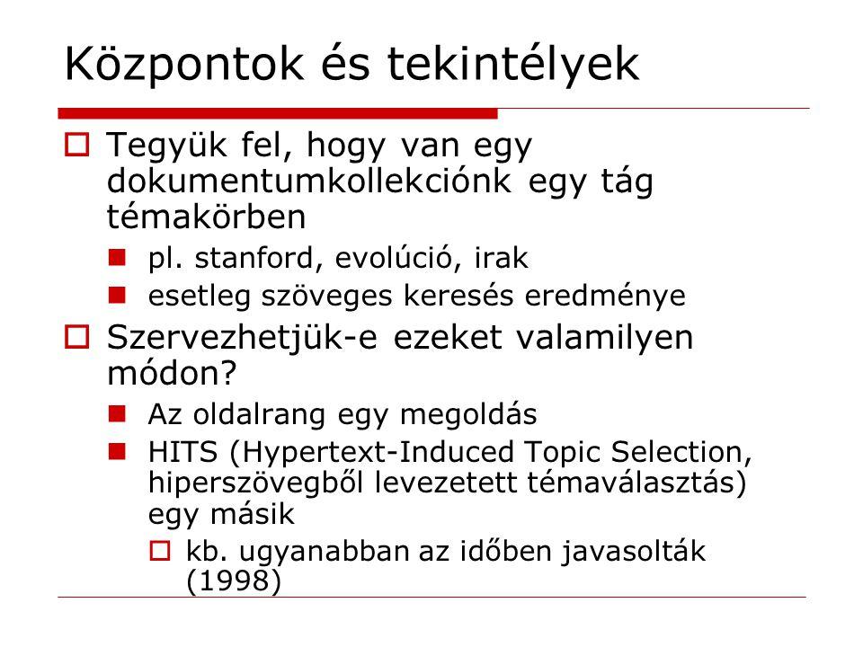 HITS modell  Az érdekes dokumentumok két osztályba tartoznak 1.A tekintélyek hasznos információkat tartalmazó lapok kari dolgozók honlapjai buszgyárak honlapjai 2.A központok olyan lapok, amelyek tekintélyekre hivatkoznak kar dolgozóinak jegyzéke magyarországi buszgyárak listája