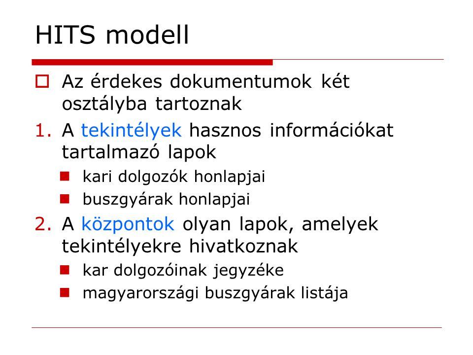 HITS modell  Az érdekes dokumentumok két osztályba tartoznak 1.A tekintélyek hasznos információkat tartalmazó lapok kari dolgozók honlapjai buszgyára
