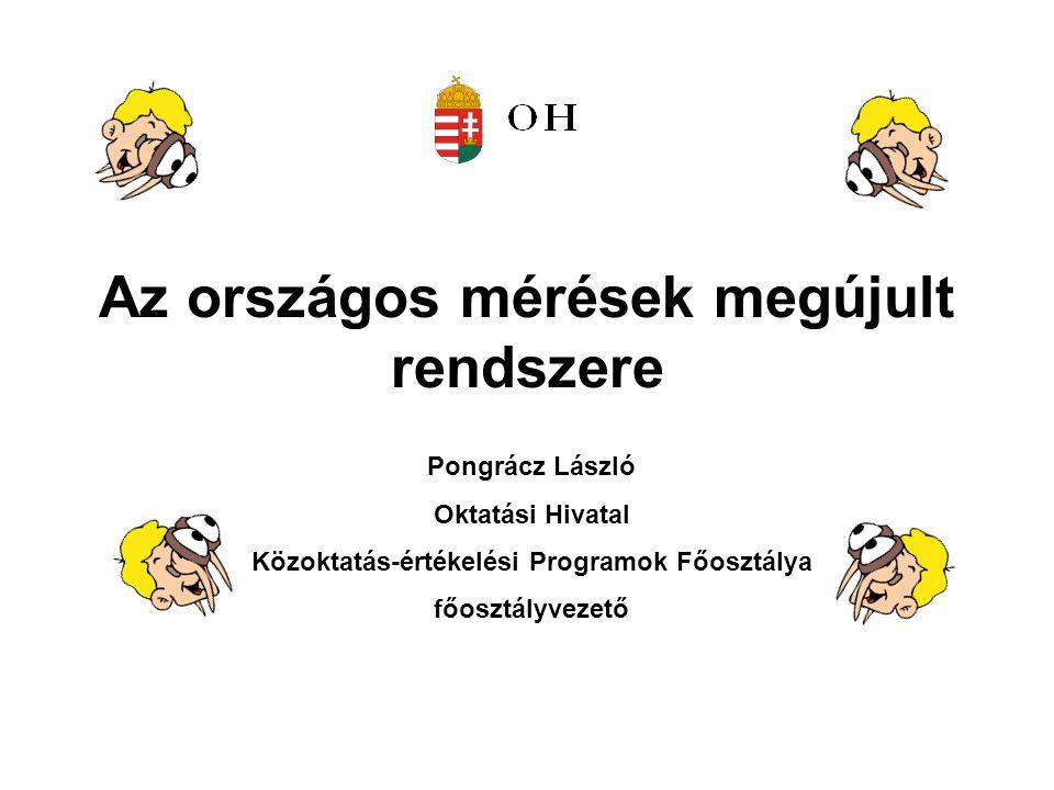 Az országos mérések megújult rendszere Pongrácz László Oktatási Hivatal Közoktatás-értékelési Programok Főosztálya főosztályvezető