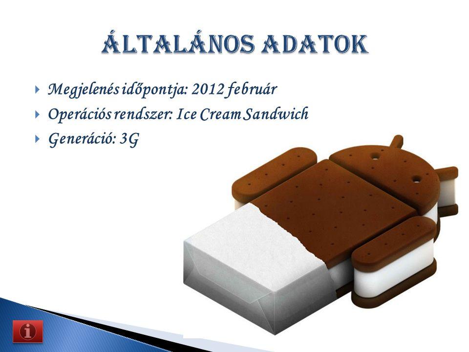 MMegjelenés időpontja: 2012 február OOperációs rendszer: Ice Cream Sandwich GGeneráció: 3G