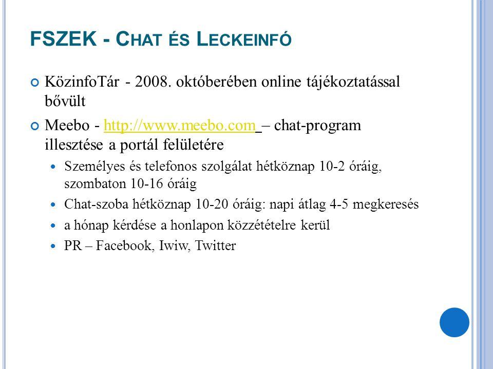FSZEK - C HAT ÉS L ECKEINFÓ KözinfoTár - 2008. októberében online tájékoztatással bővült Meebo - http://www.meebo.com – chat-program illesztése a port