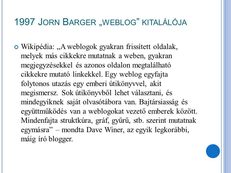 """1997 J ORN B ARGER """" WEBLOG """" KITALÁLÓJA Wikipédia: """"A weblogok gyakran frissített oldalak, melyek más cikkekre mutatnak a weben, gyakran megjegyzések"""