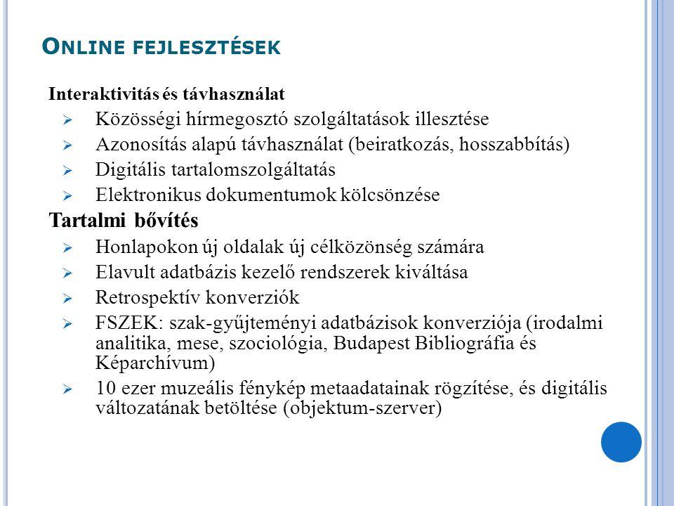 O NLINE FEJLESZTÉSEK Interaktivitás és távhasználat  Közösségi hírmegosztó szolgáltatások illesztése  Azonosítás alapú távhasználat (beiratkozás, ho