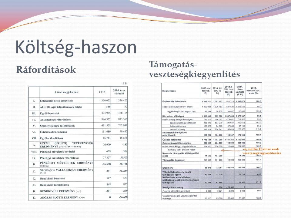 Költség-haszon Ráfordítások Támogatás- veszteségkiegyenlítés +63 millió Ft előző évek veszteségkiegyenlítésére
