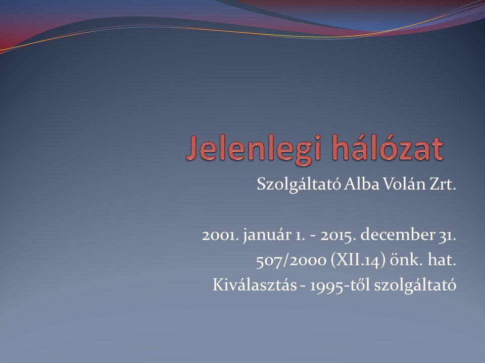 Szolgáltató Alba Volán Zrt. 2001. január 1. - 2015. december 31. 507/2000 (XII.14) önk. hat. Kiválasztás - 1995-től szolgáltató
