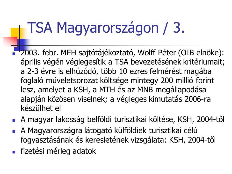 TSA Magyarországon / 3. 2003. febr. MEH sajtótájékoztató, Wolff Péter (OIB elnöke): április végén véglegesítik a TSA bevezetésének kritériumait; a 2-3