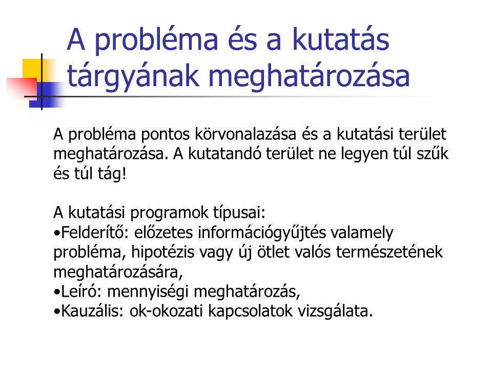 A probléma és a kutatás tárgyának meghatározása A probléma pontos körvonalazása és a kutatási terület meghatározása. A kutatandó terület ne legyen túl