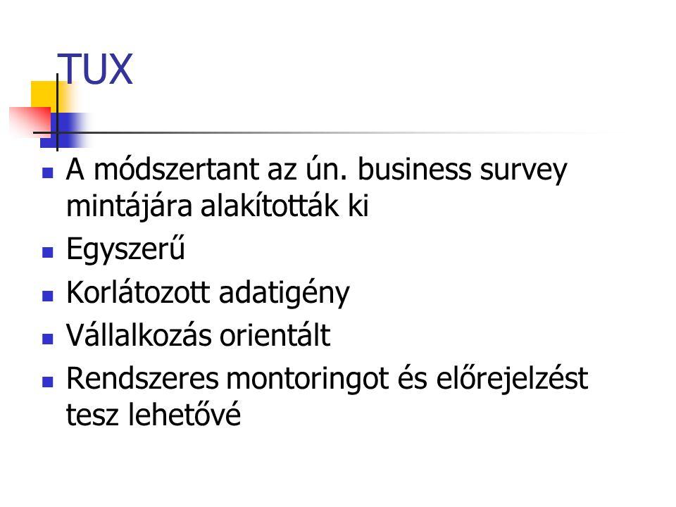 TUX A módszertant az ún. business survey mintájára alakították ki Egyszerű Korlátozott adatigény Vállalkozás orientált Rendszeres montoringot és előre