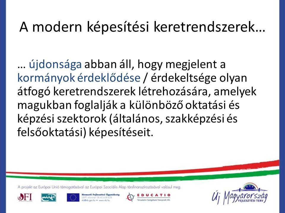 A modern képesítési keretrendszerek… … újdonsága abban áll, hogy megjelent a kormányok érdeklődése / érdekeltsége olyan átfogó keretrendszerek létreho