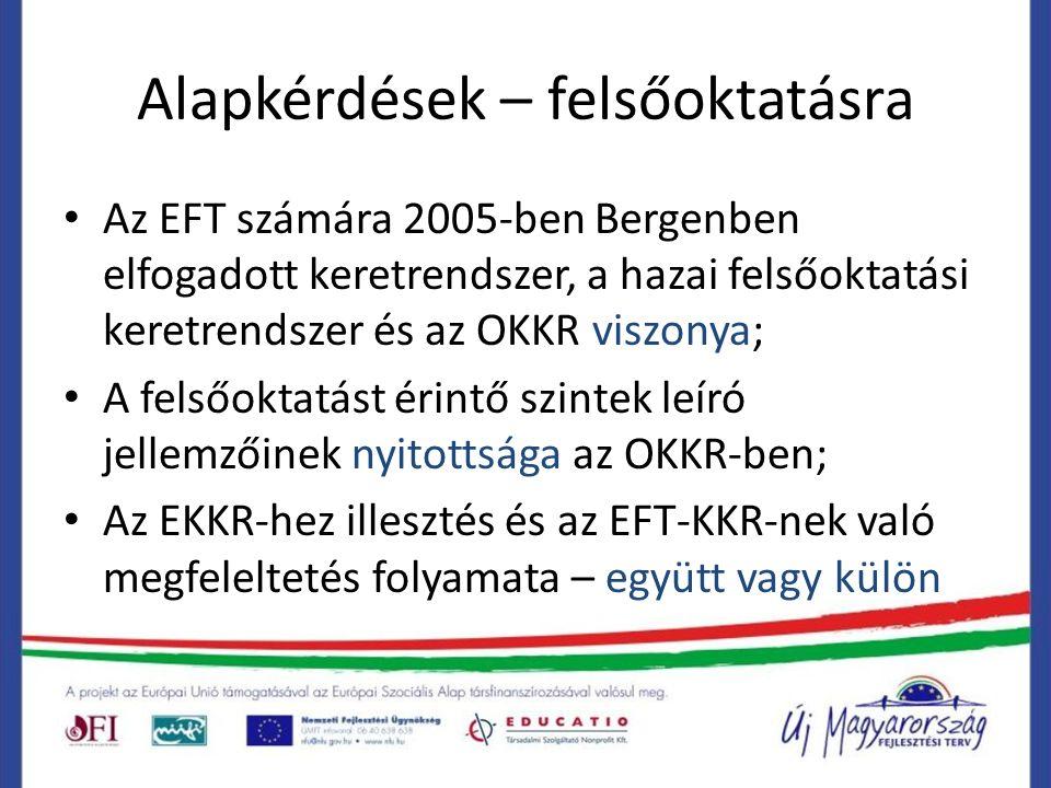 Alapkérdések – felsőoktatásra Az EFT számára 2005-ben Bergenben elfogadott keretrendszer, a hazai felsőoktatási keretrendszer és az OKKR viszonya; A f