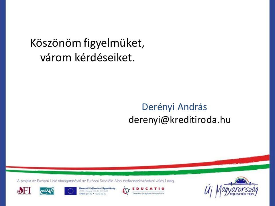 Köszönöm figyelmüket, várom kérdéseiket. Derényi András derenyi@kreditiroda.hu