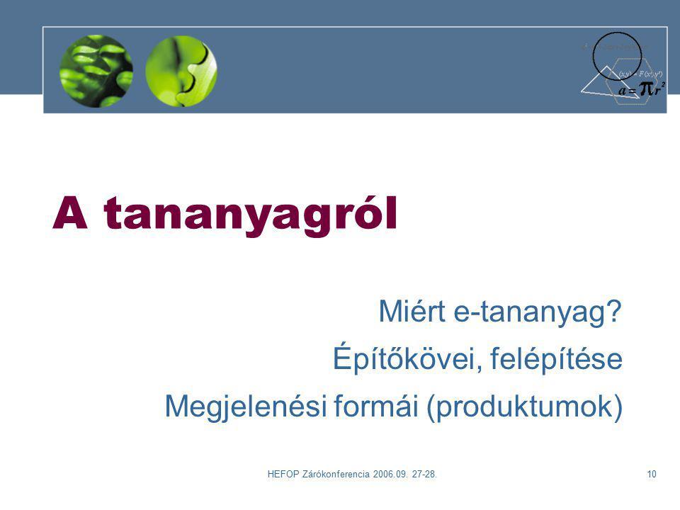 HEFOP Zárókonferencia 2006.09. 27-28.10 A tananyagról Miért e-tananyag.