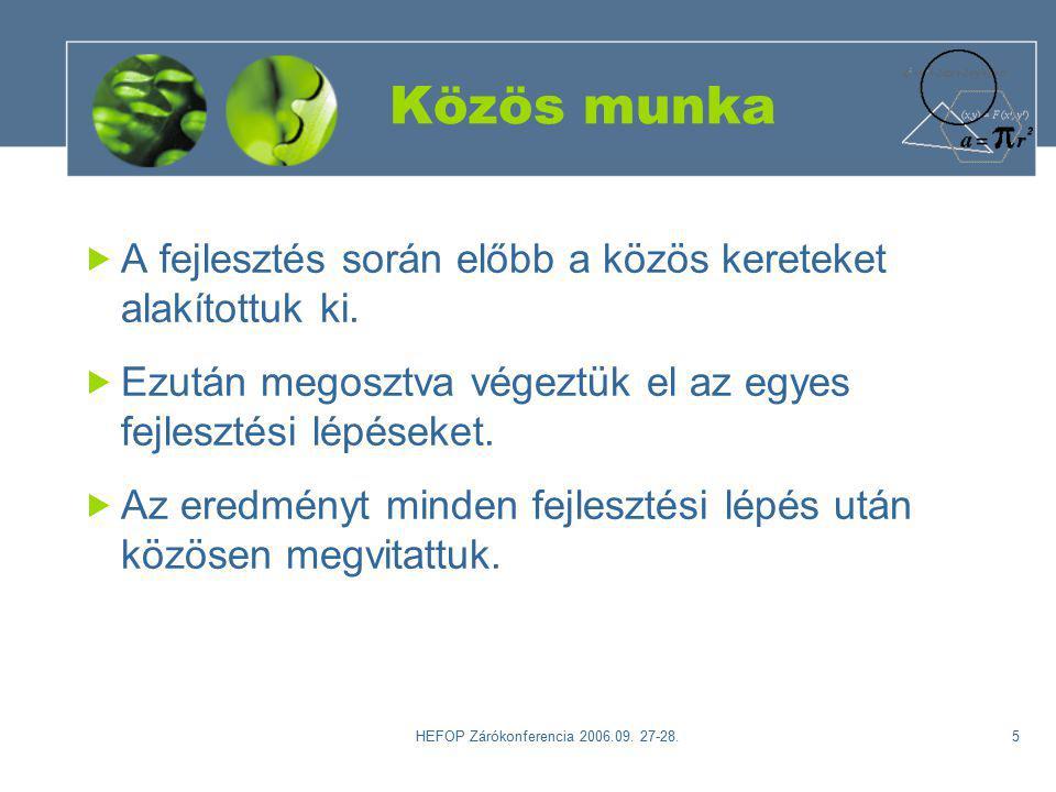 HEFOP Zárókonferencia 2006.09. 27-28.6 A kurzusról Alapelvek Helye a képzésben Témák, tevékenységek