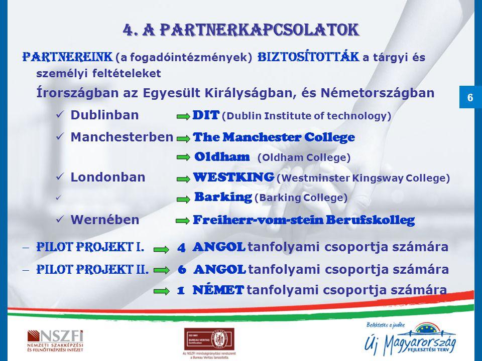 6 4. A partnerkapcsolatok Partnereink (a fogadóintézmények) biztosították a tárgyi és személyi feltételeket Írországban az Egyesült Királyságban, és N