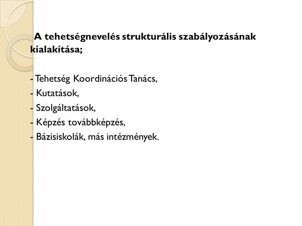A tehetségnevelés strukturális szabályozásának felépítése A Tehetség Koordinációs Tanács MKM.