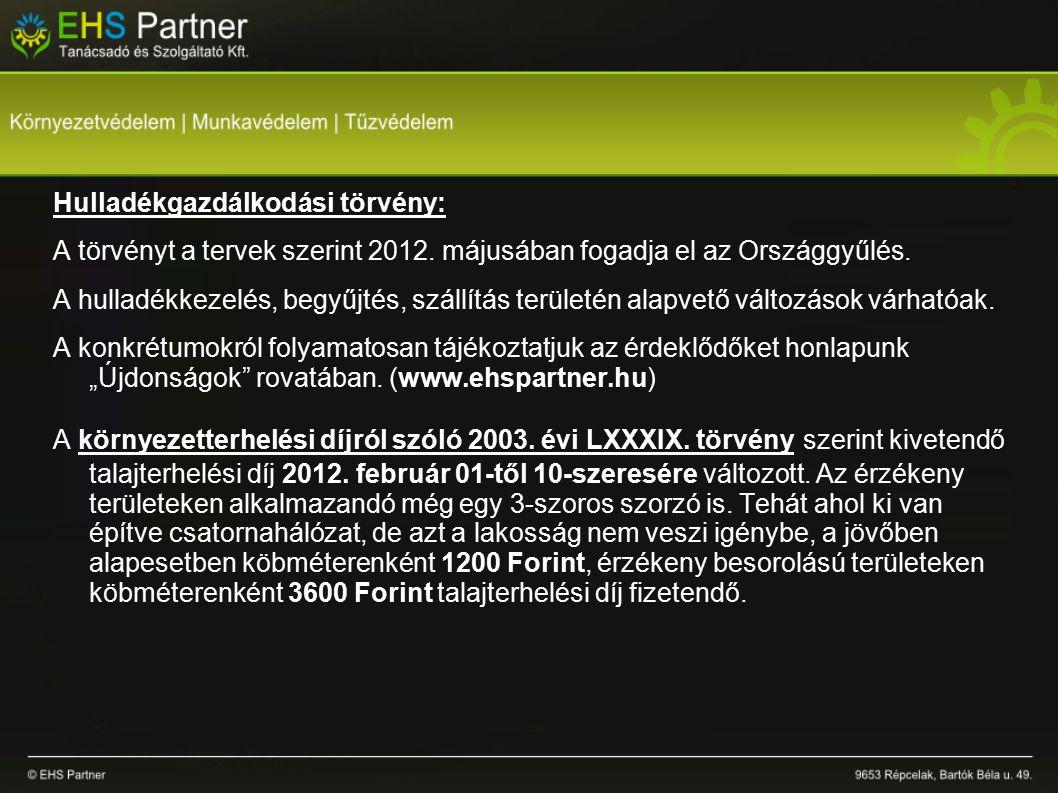 Hulladékgazdálkodási törvény: A törvényt a tervek szerint 2012.