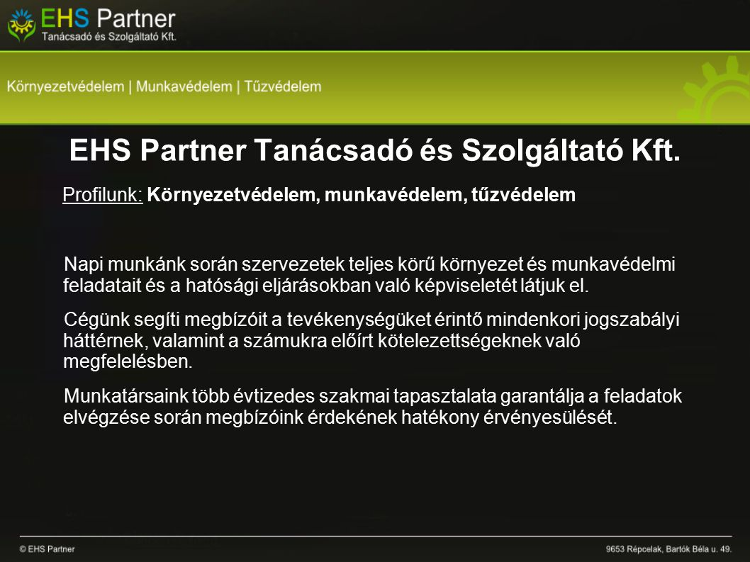 EHS Partner Tanácsadó és Szolgáltató Kft.