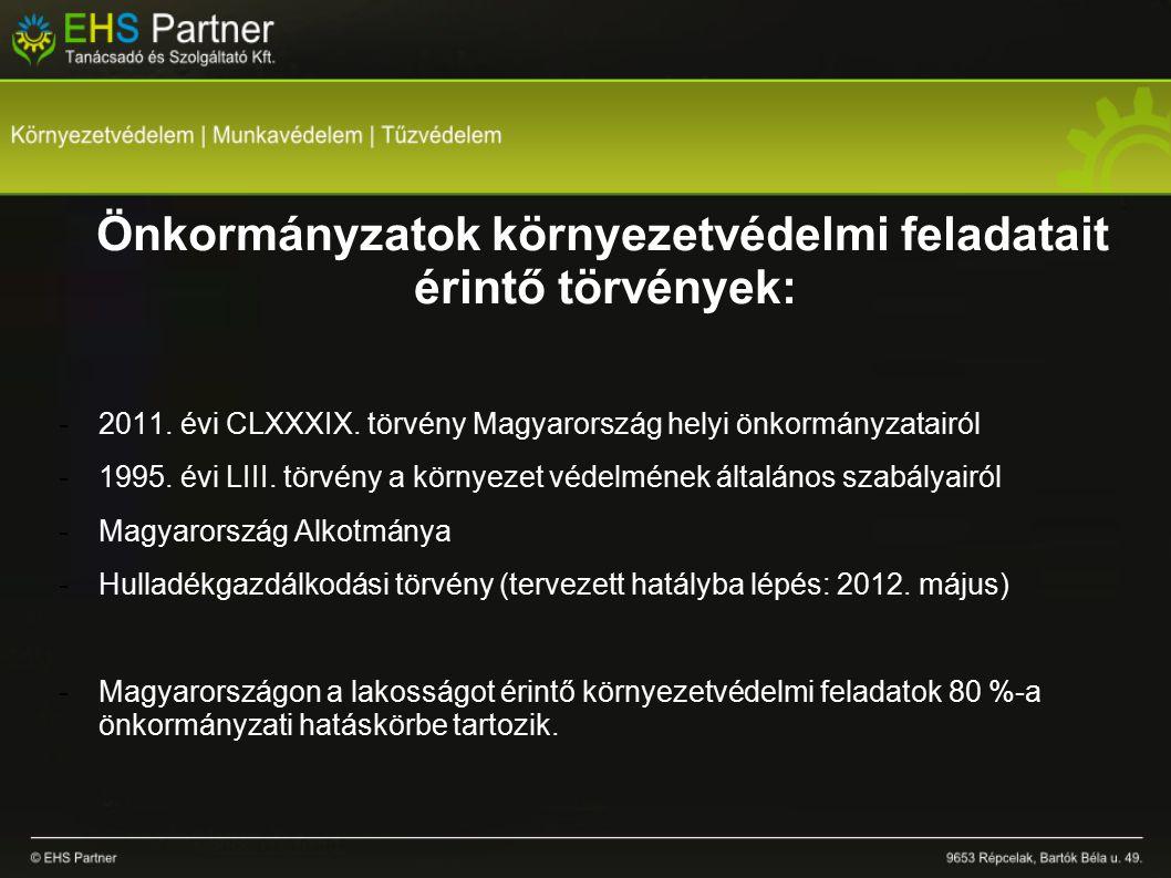 Önkormányzatok környezetvédelmi feladatait érintő törvények: -2011.