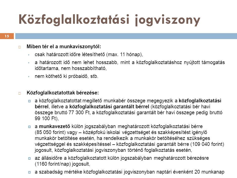Közfoglalkoztatási jogviszony  Miben tér el a munkaviszonytól:  csak határozott időre létesíthető (max.