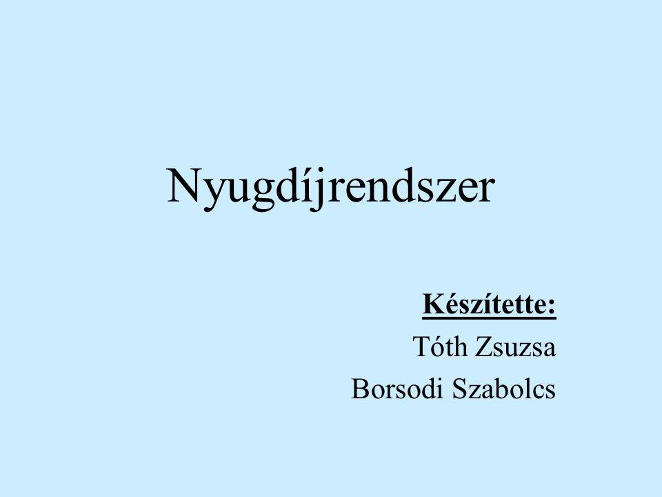 Nyugdíjrendszer Készítette: Tóth Zsuzsa Borsodi Szabolcs