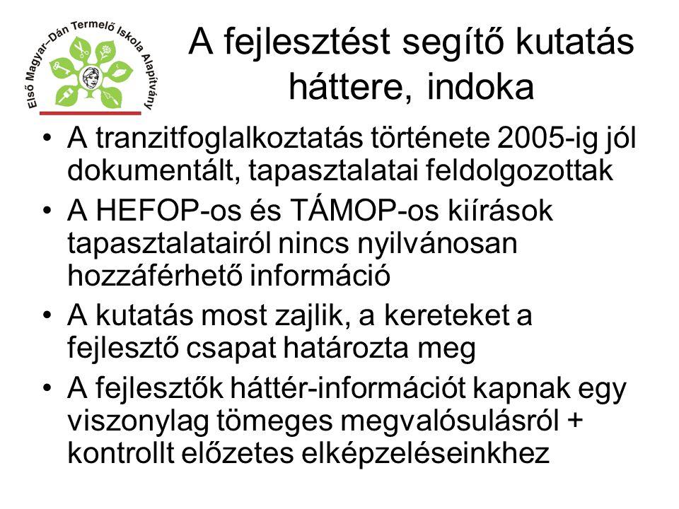 A fejlesztést segítő kutatás háttere, indoka A tranzitfoglalkoztatás története 2005-ig jól dokumentált, tapasztalatai feldolgozottak A HEFOP-os és TÁM