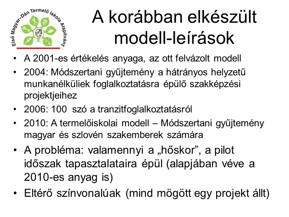 A korábban elkészült modell-leírások A 2001-es értékelés anyaga, az ott felvázolt modell 2004: Módszertani gyűjtemény a hátrányos helyzetű munkanélkül
