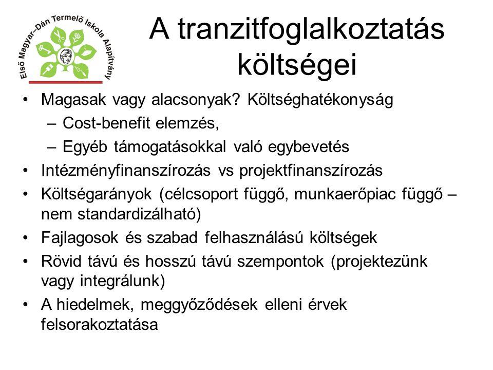 A tranzitfoglalkoztatás költségei Magasak vagy alacsonyak? Költséghatékonyság –Cost-benefit elemzés, –Egyéb támogatásokkal való egybevetés Intézményfi