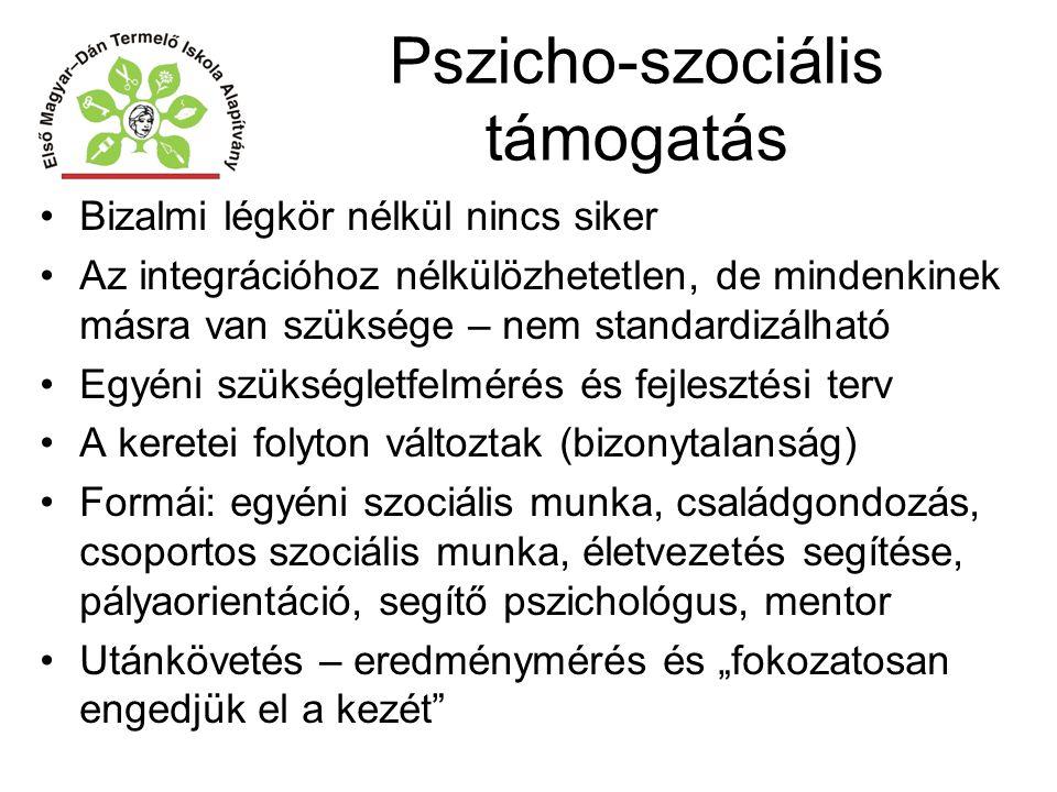 Pszicho-szociális támogatás Bizalmi légkör nélkül nincs siker Az integrációhoz nélkülözhetetlen, de mindenkinek másra van szüksége – nem standardizálh