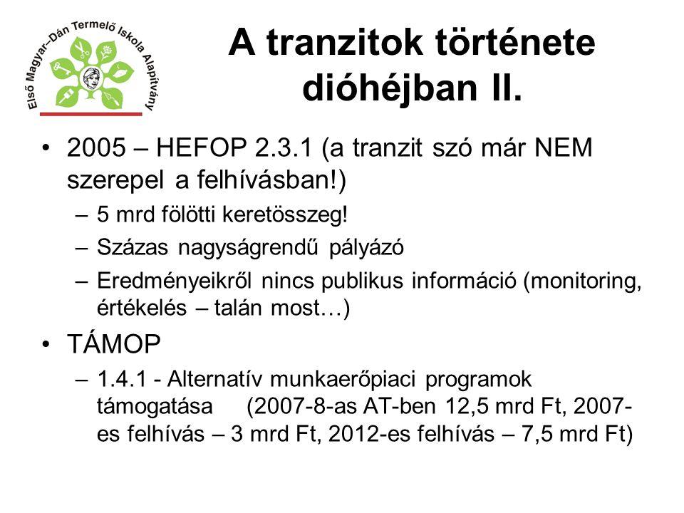 A tranzitok története dióhéjban II. 2005 – HEFOP 2.3.1 (a tranzit szó már NEM szerepel a felhívásban!) –5 mrd fölötti keretösszeg! –Százas nagyságrend