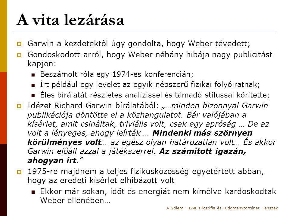 A vita lezárása  Garwin a kezdetektől úgy gondolta, hogy Weber tévedett;  Gondoskodott arról, hogy Weber néhány hibája nagy publicitást kapjon: Besz