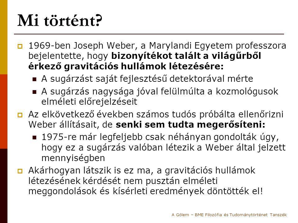 Mi történt?  1969-ben Joseph Weber, a Marylandi Egyetem professzora bejelentette, hogy bizonyítékot talált a világűrből érkező gravitációs hullámok l