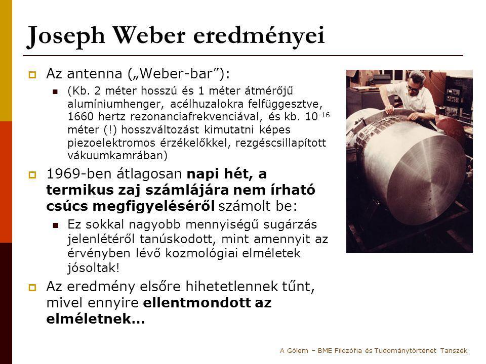"""Joseph Weber eredményei  Az antenna (""""Weber-bar""""): (Kb. 2 méter hosszú és 1 méter átmérőjű alumíniumhenger, acélhuzalokra felfüggesztve, 1660 hertz r"""