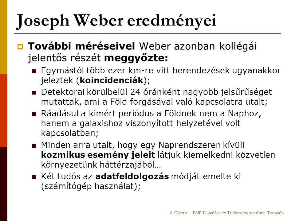 Joseph Weber eredményei  További méréseivel Weber azonban kollégái jelentős részét meggyőzte: Egymástól több ezer km-re vitt berendezések ugyanakkor