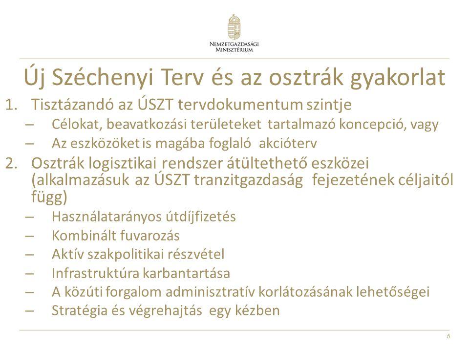 6 Új Széchenyi Terv és az osztrák gyakorlat 1.Tisztázandó az ÚSZT tervdokumentum szintje – Célokat, beavatkozási területeket tartalmazó koncepció, vagy – Az eszközöket is magába foglaló akcióterv 2.Osztrák logisztikai rendszer átültethető eszközei (alkalmazásuk az ÚSZT tranzitgazdaság fejezetének céljaitól függ) – Használatarányos útdíjfizetés – Kombinált fuvarozás – Aktív szakpolitikai részvétel – Infrastruktúra karbantartása – A közúti forgalom adminisztratív korlátozásának lehetőségei – Stratégia és végrehajtás egy kézben