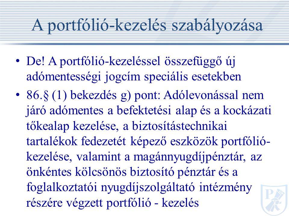 A portfólió-kezelés szabályozása De.