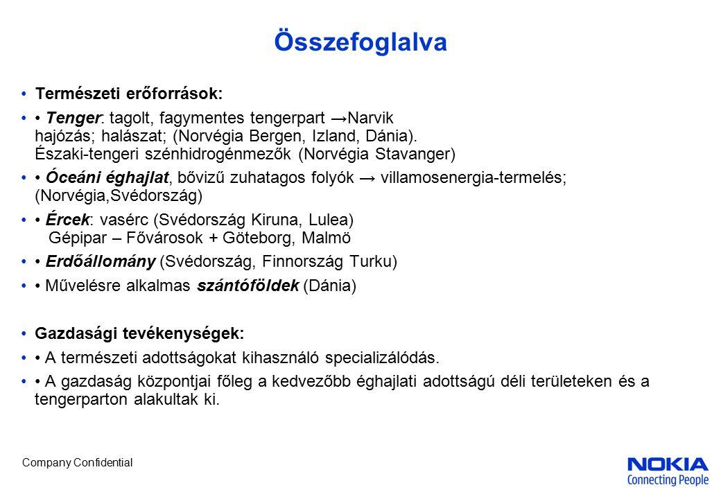 Company Confidential Finnország Jellemzők – A népsűrűség az éghajlathoz igazodik D-en 20fő/km 2, É-on lakatlan 1.Tenger – A Balti tenger befagy – Hanko jégtörőkkel nyitva tartható Újkeletű hajóépítés 2.Vízenergia – a domborzat nem élénk, kevés a csapadék + nagy veszteség a vezetékes szállításnál 3.Ércek – A fedetlen ősmasszivumon sokféle érc van, voszonylag kis mennyiségben – pl.