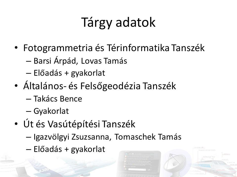 Tárgy adatok Fotogrammetria és Térinformatika Tanszék – Barsi Árpád, Lovas Tamás – Előadás + gyakorlat Általános- és Felsőgeodézia Tanszék – Takács Be