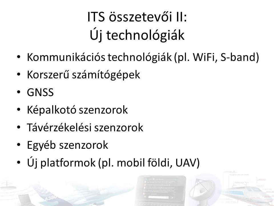 ITS összetevői II: Új technológiák Kommunikációs technológiák (pl. WiFi, S-band) Korszerű számítógépek GNSS Képalkotó szenzorok Távérzékelési szenzoro