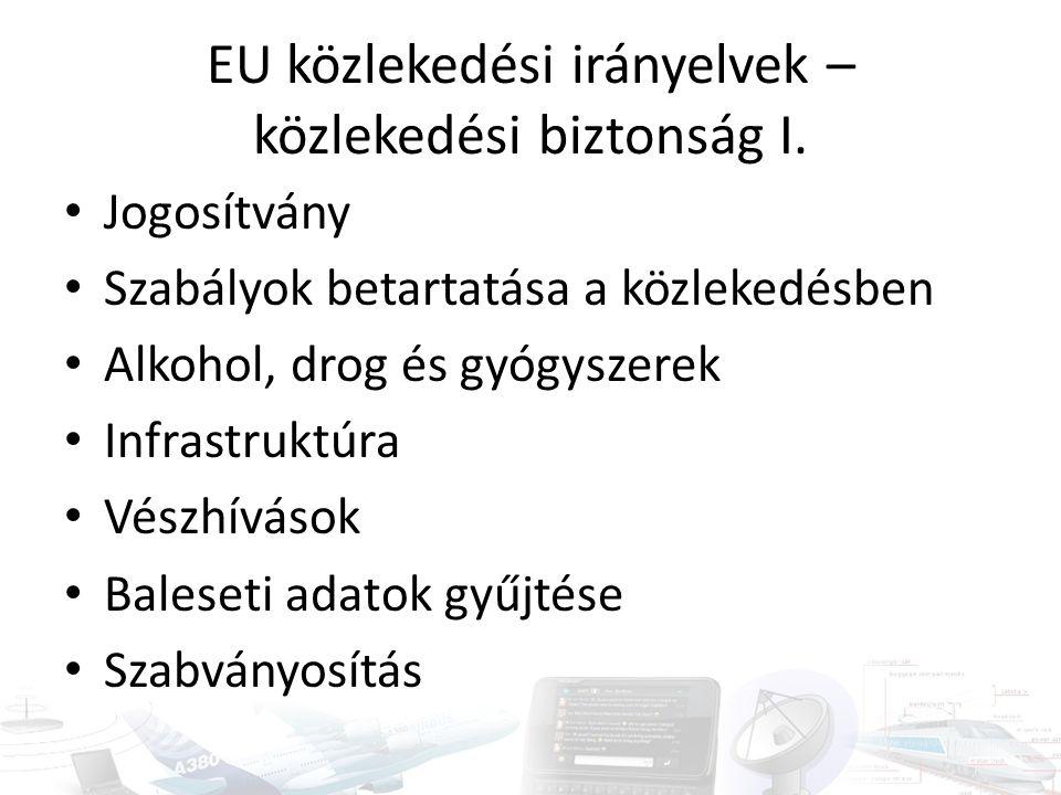 EU közlekedési irányelvek – közlekedési biztonság I. Jogosítvány Szabályok betartatása a közlekedésben Alkohol, drog és gyógyszerek Infrastruktúra Vés