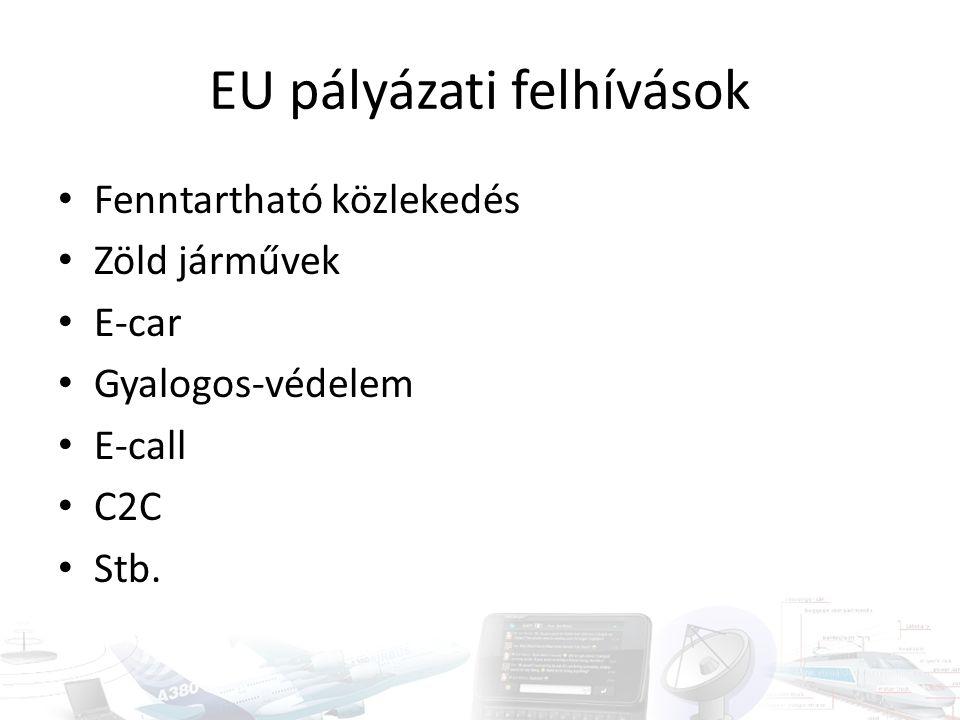 EU pályázati felhívások Fenntartható közlekedés Zöld járművek E-car Gyalogos-védelem E-call C2C Stb.