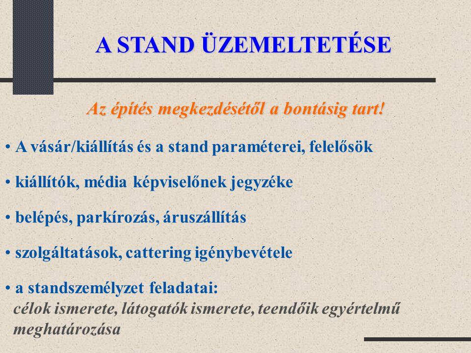 A STAND ÜZEMELTETÉSE Az építés megkezdésétől a bontásig tart! A vásár/kiállítás és a stand paraméterei, felelősök kiállítók, média képviselőnek jegyzé